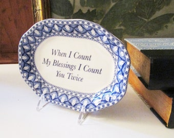 Spode Geranium Sentiment Tray, Blue Room Collection, Pin Tray, Trinket Dish, Blue and White Catchall, Vintage Gift, Blessing Tray