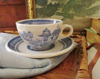 """Vintage """"Canton"""" by Syracuse China Teacup and Saucer, USA, 1960's Blue and White Chinoiserie Teacup, Restaurantware Chinoiserie Chic Dining"""