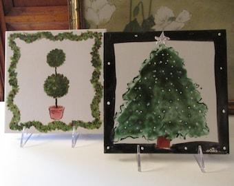 Vintage Hand Painted Tile Art By Nansi S. Design, Christmas Tile, Xmas Trivet, Holly Berry Topiary Tile, Glazed Folk Art Tile, Wall Decor