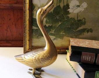 Vintage Standing Brass Duck, Bird Figurine, Brass Decor, Farmhouse Chic, Boho Chic, Brass Bird