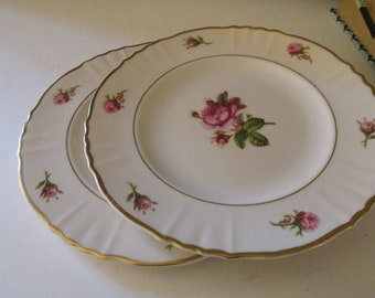 Two Victoria by Syracuse Plates, Rose Bud, Cottage Chic Dinnerware, Mother's Day Dinnerware, Romantic China, 1950's Plates