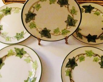 Five Franciscan Ivy Plates, Alfresco Dining, Garden Decor, Mid Century, Made in California, Bread Butter Plates, Earthenware