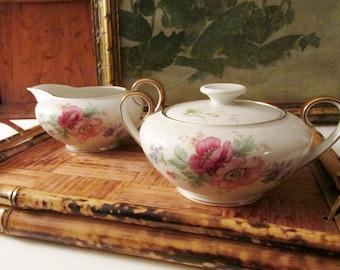 Vintage Bavaria Tirschenreuth Germany, Sugar Bowl and Creamer, Spring Bouquet, Elegant Dining, Romantic Dinnerware