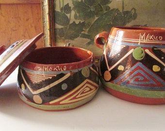 Two Vintage Mexican Hand Painted Bowls, Tlaquepaque Clay Pottery Bowls, Rustic Mexican Bowls