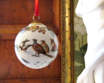 German Hochst Decor Porcelain Ornament, Christmas Ball Ornament, 1998, Rabbit, Owl, Woodland Theme