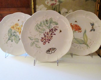 Three Vintage Lenox Butterfly Meadow Salad Plates, Eastern Tail Blue, Dragonfly, Spring Dinnerware, Mother's Day China