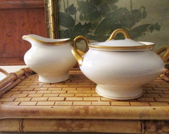 Vintage Old Colony Syracuse China Sugar Bowl and Creamer Set, Wedding China, Gold Band China, Elegant Dining