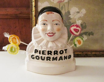 Vintage Pierrot Gourmand French Advertising Lollipop Figurine Display Holder, Made in Italy, French Kitchen Decor
