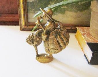 Vintage Brass Doorstop, Brass Woman With Flower Basket, Brass Figurine, Gift For Gardener, Single Bookend
