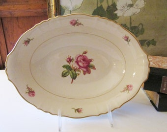 Vintage Syracuse China Bowls, Victoria Oval Serving Bowl, Rose Bud Bowl with Gilded Trim, Mother's Day China, USA, 1960's Brunch Dinnerware