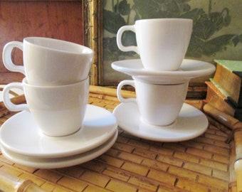 Vintage Starbucks Set of Four White Espresso Cup & Saucers Sets, Demitasse Set, Starbucks At Home Collection