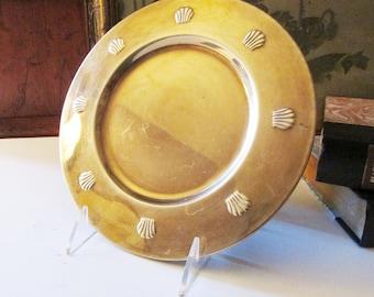 Brass Shell Coaster or Plate, Brass Charger, Brass Saucer, Vintage  Hollywood Regency Brass Tray, Palm Beach Decor