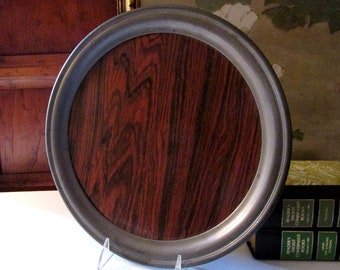 Vintage Round Tray, Pewter Tone Metal Tray, Formica Faux Bois Interior, Vintage Bar Tray, Man Men Decor