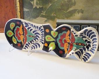 Vintage Talavera Pottery Spoon Rest, Mexican Hand Painted  Folk Art