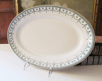 "Vintage Vitrifed Hotel China Platter, The Straus Co., Richmond VA, ""Berkshire"" Pattern, Neoclassical Style Serving Platter"