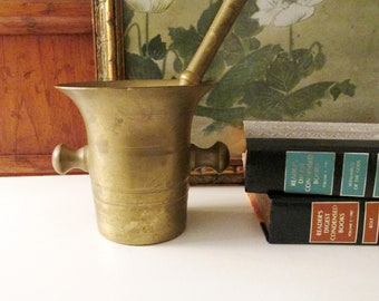 Vintage Large Brass Mortle and Pestle, Solid Brass, Farmhouse Kitchen, Apothecary, Pharmacist Tool, Brass Decor