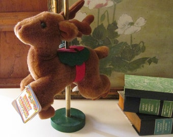 Vintage 1987 Christmas Reindeer, The Merry Carousel by Applause, Xmas Nursery Decor, Mantel Decor