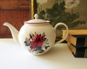Lenox Winter Greetings Teapot, Christmas Holiday Teapot,