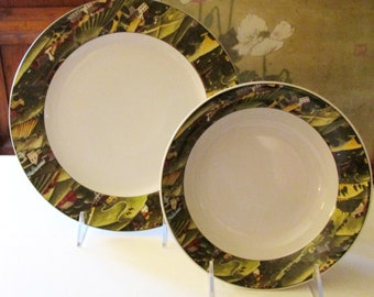 """Vintage David Carter Brown """"Pleasant Valley"""" Dinner Plates, Soup Bowls, Sold in Sets of Four, Folk Art Dinnerware, Farmhouse Chic"""
