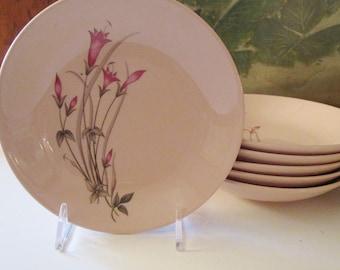 "Six Vintage Fruit or Sauce Bowls by Crooksville USA, ""Carnation's Delight"", Pink Floral Bowls"