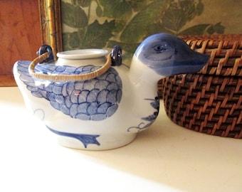 Blue and White Duck Teapot, Blue and White Teapot, ChinoiserieChic, Farmhouse Decor