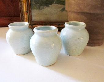 Three Fortnum & Mason Ltd of London Jars, Mini Urns, Celadon Pottery Vases, Chinoiserie Decor, Farmhouse Chic