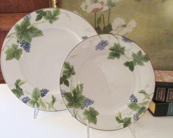 "Vintage Mikasa Optima Dinner Plate, Salad Plate, ""Vineyard"" Pattern, Alfresco Dining"