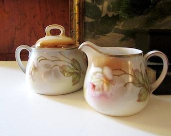 Vintage Hand Painted Sugar Bowl and Creamer, Antique German Porcelain Sugar Bowl, Romantic Cottage Decor