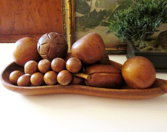 Vintage Carved Wood Fruit and Mod Tray, Retro Coffee Table Decor, Boho Chic