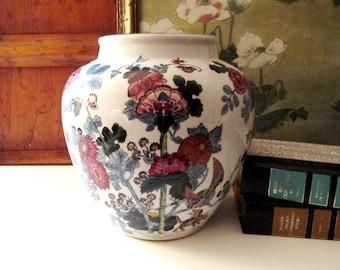 Vintage Large Chinoiserie Vase, Oriental Lamp Base, Chinoiserie Floral Vase, Ceramic Hand Painted Vessel