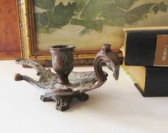 Vintage Phoenix Bird Chamberstick, Chandlestick Holder, Mythical Bird, Boho Candle Holder