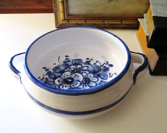 Vintage Vietri Avallone Bowl, Italian Pottery Bowl, Blue and White Hand Painted Bowl,