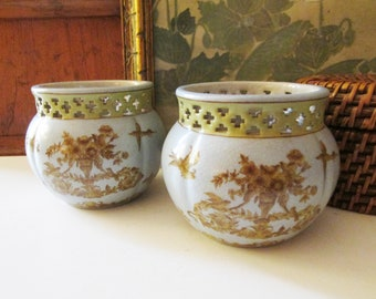 Pair of Neoclassical Style Vases, Cachepot, Coffee Table Decor, Romantic Decor, Crackled, Grandmillennial Planter, Birds and Basket Motif