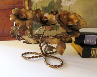 Vintage Gilded Tole and Wrought Iron Candlestick Holder, Golden Roses Double Candleholder, Italian Tole Style