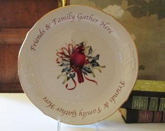 """Lenox Winter's Greetings Serving Platter, 12"""" Round Sentiment Dessert Platter, Christmas Platter"""
