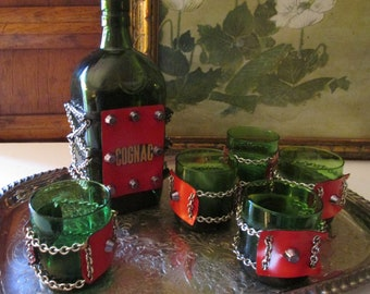 Vintage Cognac Decanter Set, Retro Barware, Mad Men Bar Cart Decor, Six Piece Bar Set, Hollywood Regency, Brandy Decanter