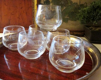 """Vintage Six Etched """"Wheat"""" Glassware, Punch Cups, Cocktail Glasses, Barware, Retro 1970's Low Ball Glasses, Roly Poly Glasses"""