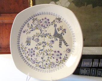 Vintage Figgjo Flint Turi Lotte Serving Plate, 1970's Norway Blue and White Hand-Painted Maiden Boy and Girl