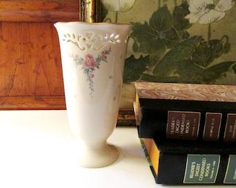 Vintage Lenox USA Pierced Heart Vase, Petite Rose, Mother's Day Gift, Decorative Fine Ivory, Ambassador Collection