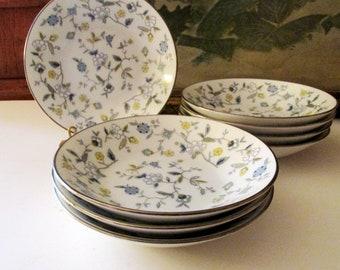Eight Noritake Chinta Fruit/Dessert Bowls, Blue and Yellow Floral Bowls, Vintage Set of Eight Chintz Bowls by Noritake