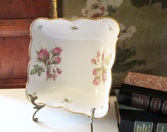 Vintage Edelstein Moss Ross Serving Bowl, Bavaria Germany, Romantic Pink Roses Porcelain Dish, Wedding China