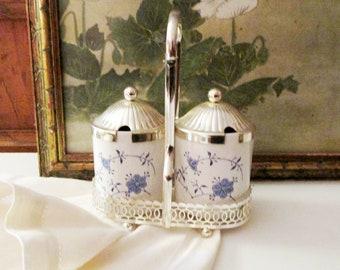Vintage English Jelly Jam Condiment Set, Blue Denmark Jam Jars, Leonard Silver, England Condiment Set, Blue and White Jars