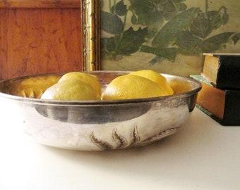 Vintage Kirk Stieff Silver Bowl, Italian Silver Plate Bowl, Fruit Bowl, Repousse Silver Bowl, Wheat Bowl