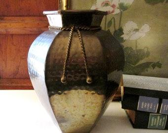 Large Vintage Hammered Brass Vase, Money Sack Style Vase, Brass Decor, Brass Hexagonal Style Vase, Hollywood Regency