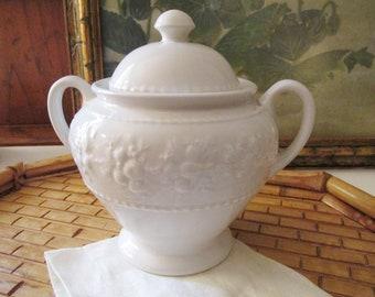 Vintage Wedgwood Home Sugar Bowl, Embossed White Sugar Bowl, English Earthenware, Festivity Pattern
