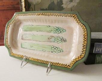 Gail Shaefer Asparagus Dish, Hand Painted Asparagus Tray, Majolica Style, Buckhorn Pottery, North Carolina