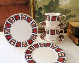 Vintage England Ridgway Potteries, Queen Anne, Pair of Teacups, Saucer and Plates, Coral and Blue Imari Style China
