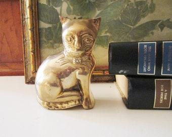 Vintage Brass Cat Figurine, Brass Kitten, Brass Paperweight, Gift For Cat Lover, Vintage Kitten Gift, Sitting Brass Cat
