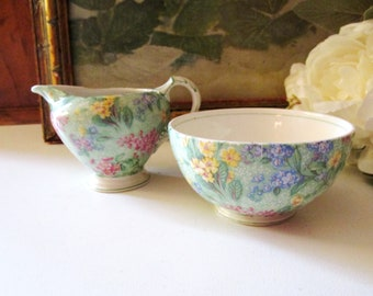 """English Chintzware Creamer and Open Sugar, By Empire Porcelain Co., Ltd, """"Lilac Time"""", Vintage Tea Party Decor"""