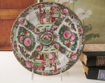 Vintage Famille Rose Bowl, Chinoiserie Decor, Rose Mandarin, Medallion, Japanese Porecelain Ware, Decorative Cabinet Plate, Rose Medallion